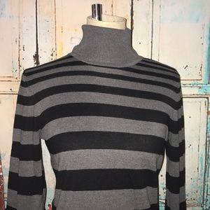 BCBGMAXAZRIA~Black Stripe Cotton/Silk Turtleneck~M